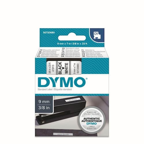Tape DYMO D1 9mm x 7m sort/hvit produktbilde