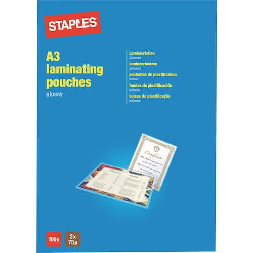 Lamineringslomme STAPLES A3 75my (100) produktbilde Secondary2 L
