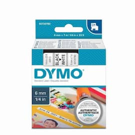 Tape DYMO D1 6mm x 7m sort/hvit produktbilde