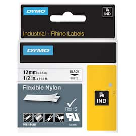 Tape DYMO Rhino nylon sort/hvit 12mm produktbilde