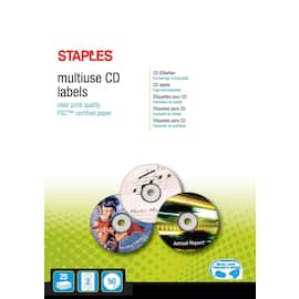 Etikett STAPLES CD/DVD A4 ø117mm (50) produktbilde